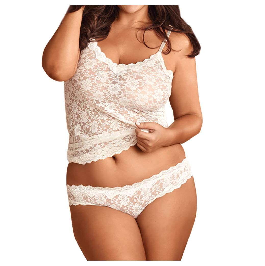 Women Plus Size Sexy Lingerie See Through Floral Lace Teddy Tops with Panties Two Piece Swimsuits White