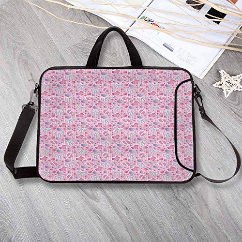 - Baby Custom Neoprene Laptop Bag,Bows and Bootes Buttons Ribbon Infant Elements Birthday Theme on Tartan Display Decorative Laptop Bag for Men Women Students,14.6