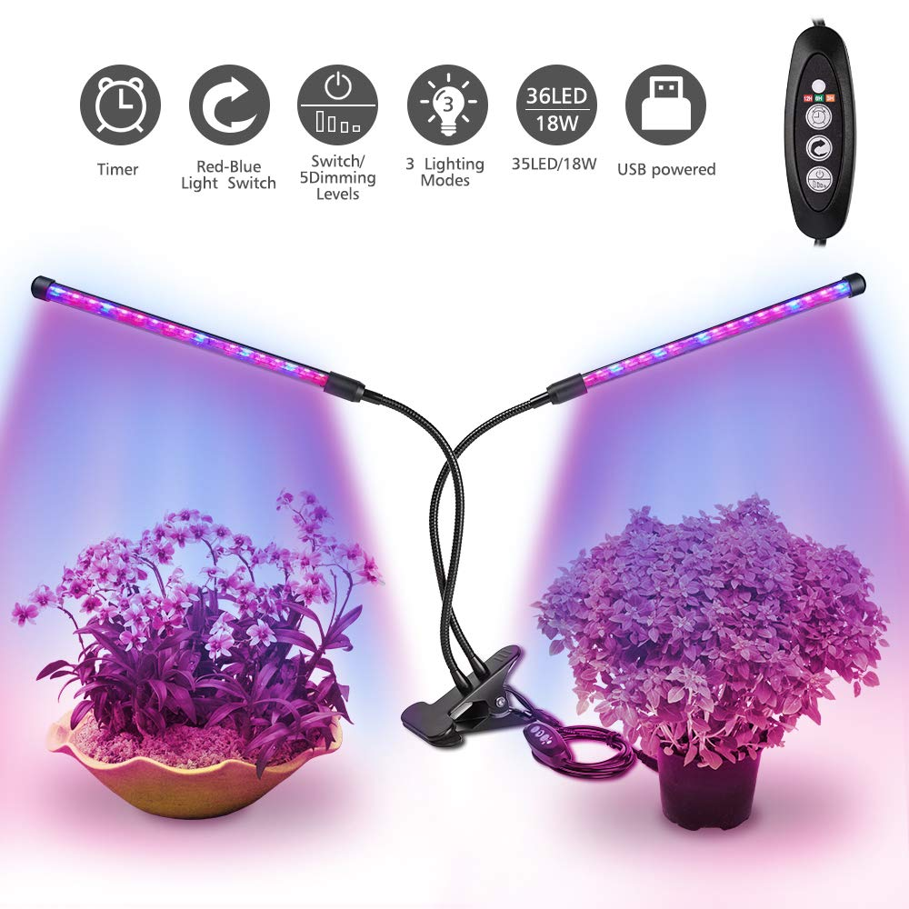 Plant Lights Indoor, Dimmable LED Grow Light Full Spectrum with UV&IR, Clip-On Desk Grow Lamp, 3/6/12H Timer, Dual Head Adjustable Gooseneck for Indoor Plant, Succulent [Relassy Upgraded]