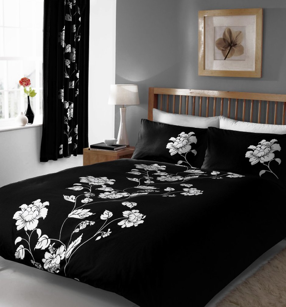 BLACK WHITE DOUBLE DUVET COVER BED SET Amazoncouk Kitchen Home