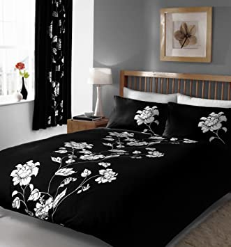 BLACK KING SIZE DUVET SET WITH MATCHING CURTAINS: Amazon.co.uk ...