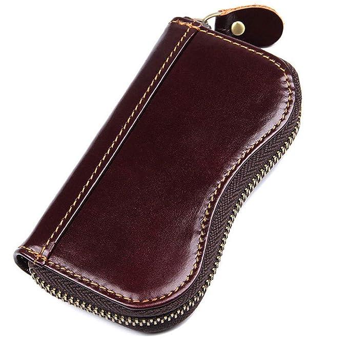Everdoss Genuine Leather Key Wallet Wallet Zip Around Key Pouch Men Women  Key Purse 41fe867c9d