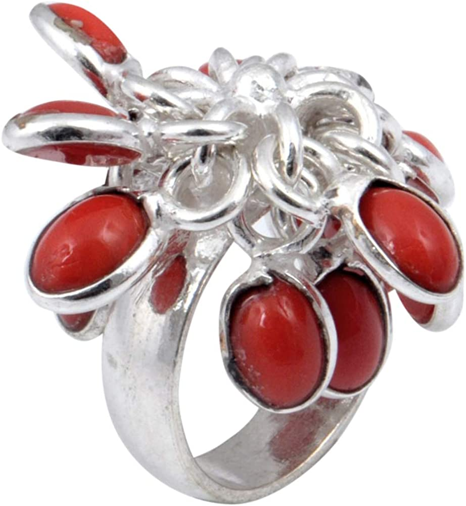 Sizable Red Garnet Quartz Sterling Silver Overlay Ring Size 5.5 US Gift Jewelry Handmade Jewelry
