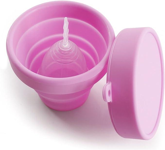 YSAGi - Copa plegable de silicona para almacenamiento y esterilización de la copa menstrual