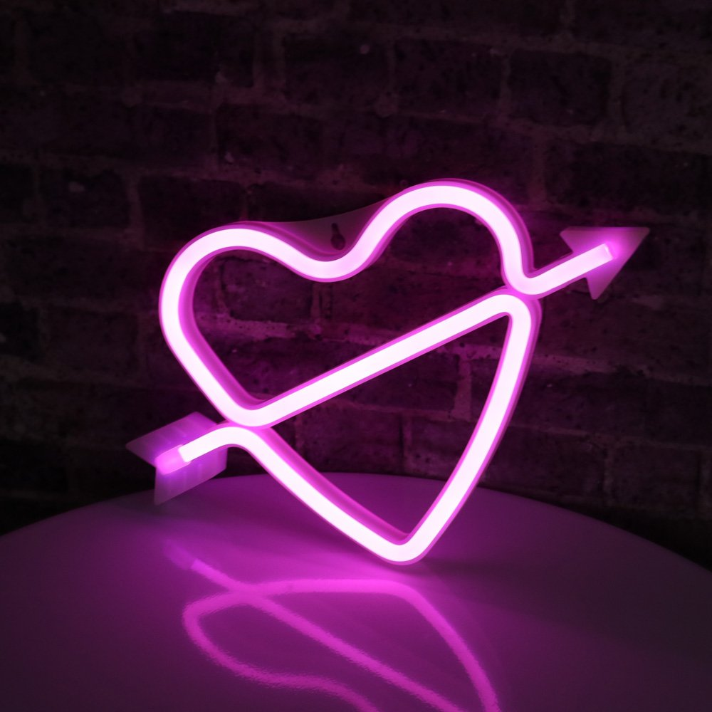 Neon Art Decorative Lights The Arrow of Love LED Neon Cupid Love Heart Signs Light Wall Decor for Girls Bedroom House Bar Pub Party Wedding Valentine's Day (Pink Neon Heart)