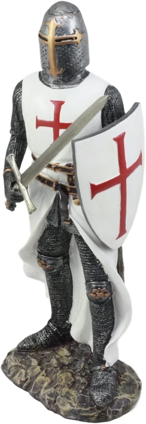 Ebros White Cloak Caped Medieval Crusader Swordsman Knight Figurine 11.5