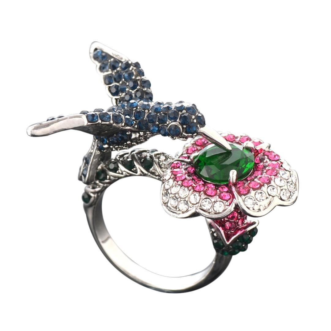 Clearance ! Ladies Ring Jewelry,Vanvler Creative Three-Dimensional Sapphire Hummingbird Wedding Ring Size 6-9 (6, Colorful)