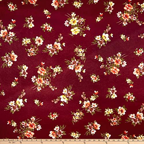 Fabric Merchants Rayon Spandex Jersey Knit Floral Fabric, Wine/Coral, Fabric By The - Spandex Floral Jersey