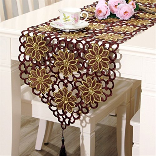 (Fashionmall Table Runner Dresser Classical Classic European Style Dining Tassel Decoration Home Decor (15.74x77.16, Coffee) )