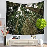 YJ Bear Tree Forest Mountain Print Wall Hanging Tapestry Table Cloth Cover Non-woven Weaving Yoga Mat Blanket Rectangle Indian Mandala Boho Beach Towel Throw
