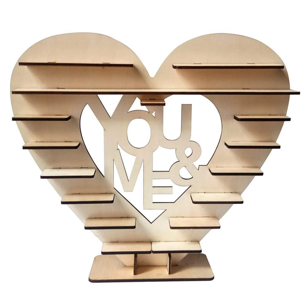 Soporte de madera con forma de coraz/ón para decoraci/ón de mesa de bodas caramelos 7 Tier dulces Prosperveil Ferrero Rocher fiestas