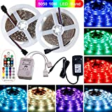 SPARKE LED Strip Lights Non-Waterproof 32.8ft (10M) 300LEDs Flexible Color Changing RGB 12V SMD5050 LED Tape Light with RF Music Controller and UL Listed 3A Power Supply