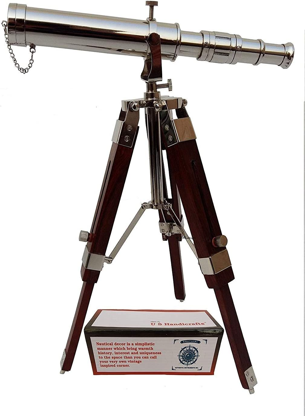 Vintage Brass Nickle Telescope on Tripod Stand/Chrome Desktop Telescope for Home Decor & Table Accessory Nautical Spyglass Telescope for Navy and Outdoor Adventures.
