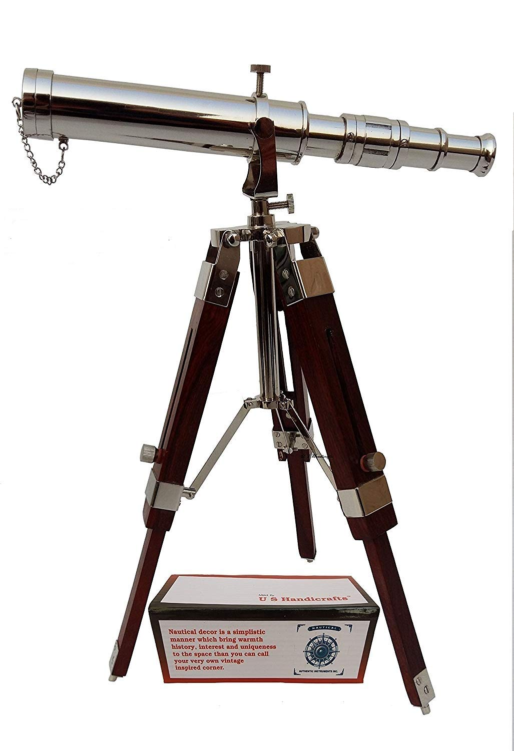 Vintage Brass Nickle Telescope on Tripod Stand/Chrome Desktop Telescope for Home Decor & Table Accessory Nautical Spyglass Telescope for Navy and Outdoor Adventures. by US HANDICRAFTS
