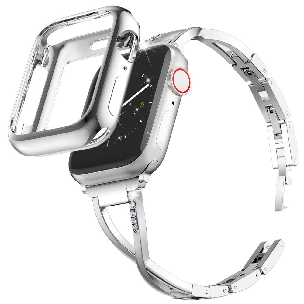 Marge Plus Compatible with Apple Watch Band 38mm 40mm with Case, Women Bling Wristband for iWatch Series 5 4 3 2 1 Metal Stylish Strap, Silver by MARGE PLUS