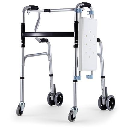 ZZHF Muleta anciana andadera Trolley muletas de pies Cuadrados Anciana Vara con Taburete 3 Colores Disponibles