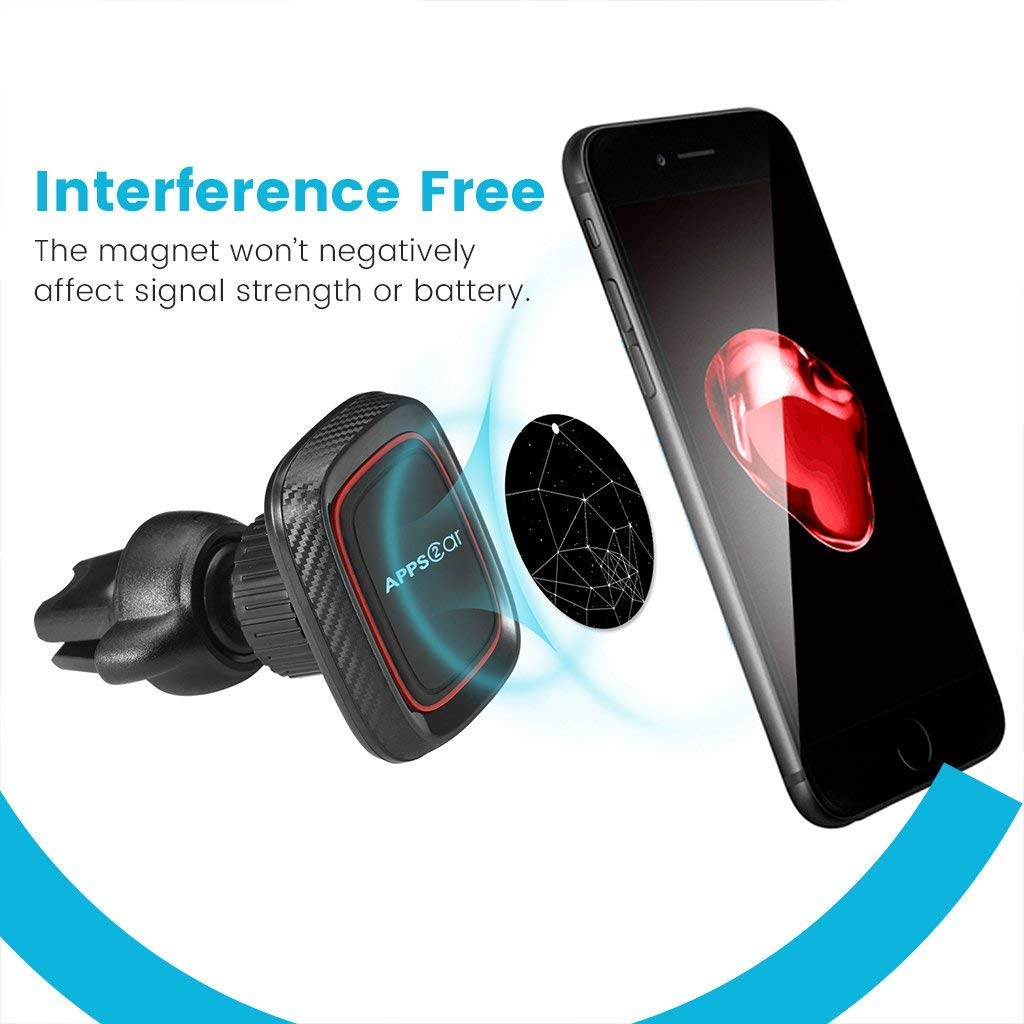 APPS2Car Adjustable Cell Phone Holder Car Amazing Powerful Magnets,Hands Free Phone Mount Car with Secure Tightening System Wiiki-tech 4351482401 Magnetic Car Mount Vent