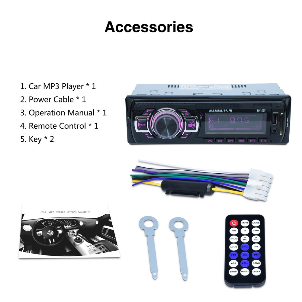 LSLYA 7 color BacKlight car stereo 12V Bluetooth 1 channel FM auxiliary input receiver SD USB MP3 MMC WMA car radio player + fast charging