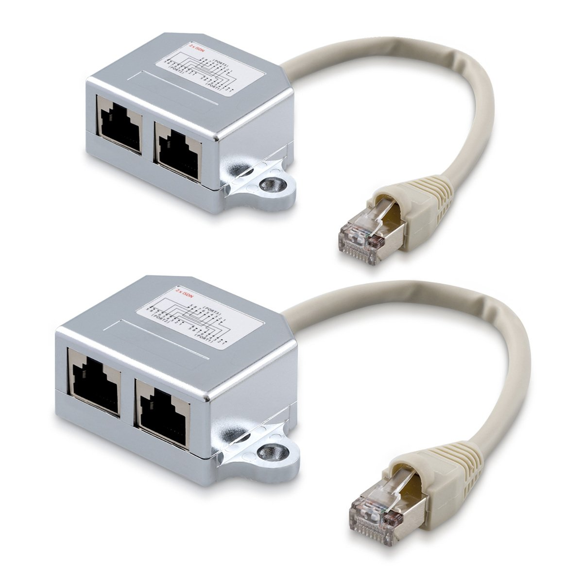 kwmobile 2x Netzwerkkabel Splitter Anschlussverdoppler: Amazon.de ...