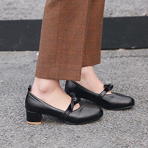 Latasa Mujeres Bow Chunky Heel Pumps Black