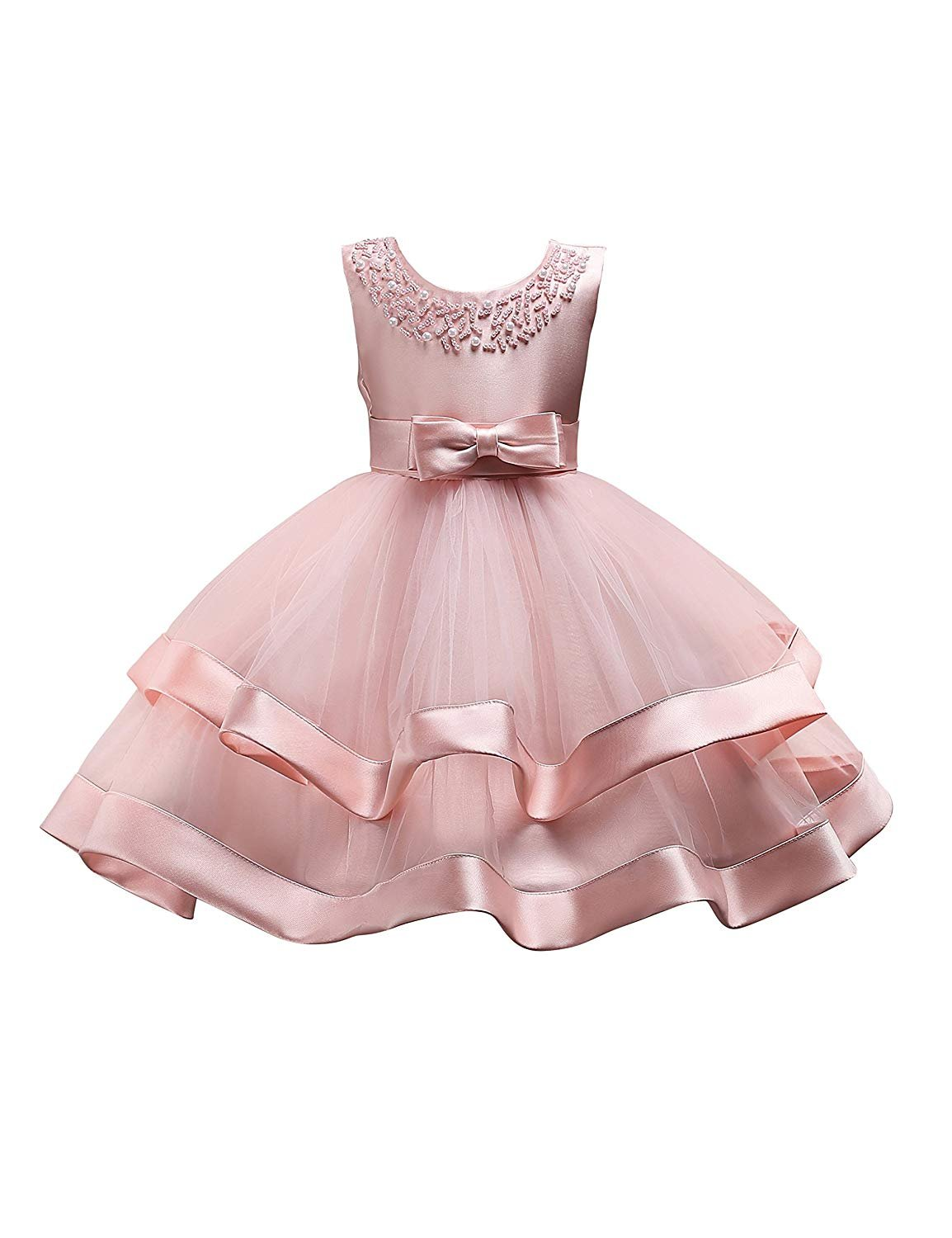 Little Girl Dress Size 6-7 Blush Pink Pageant Party Holiday Graduation Dress For Girls 5T 6T Christmas Gifts Dresses Ball Gowns For Girls Sleeveless Birthday Fancy Tutu Dress 7 Years Old (Pink 30)