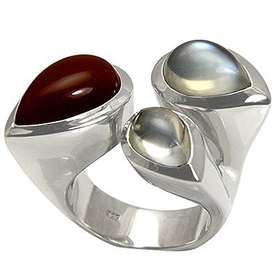 ce5455af0997 piedra de luna anillo plata oro herrero trabajo (Plata de ley 925) - Anillo  de plata con tres schimmernden Luna piedras - con Expertise  Amazon.es   Joyería