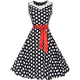 007XIXI Vintage Dress Blue,Women Vintage 1950s Retro Short Sleeve V-Neck Printing Party Prom Swing Dress