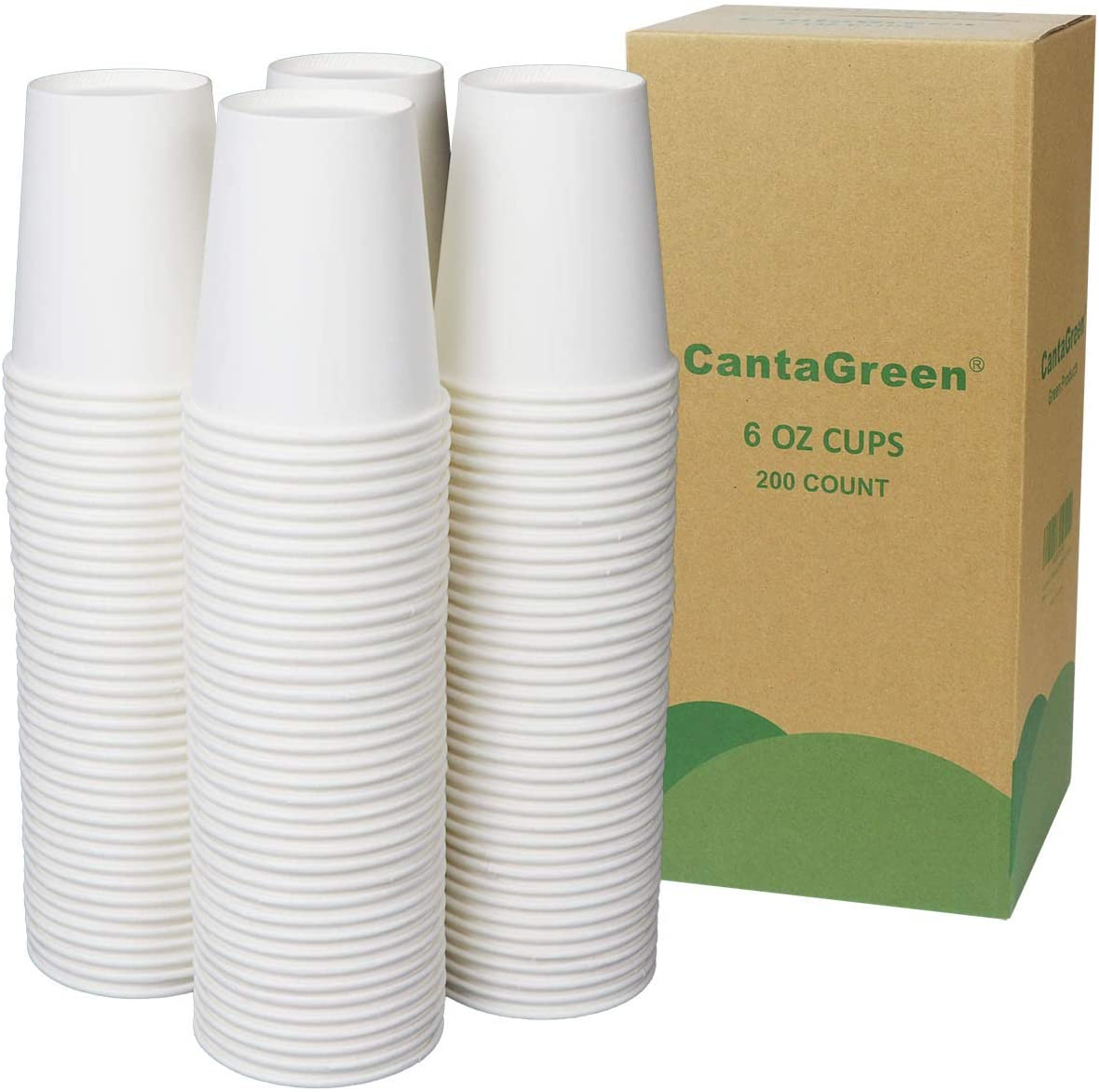 CantaGreen 6 OZ White Paper Cups,200 Count Heavyduty Disposable Hot and Cold Cup