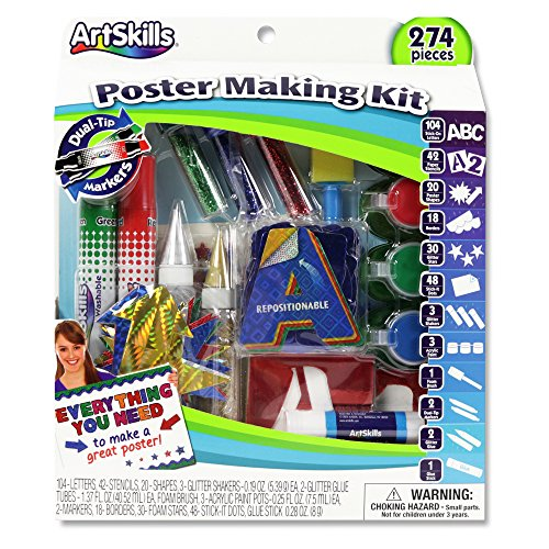 - ArtSkills Poster Making Kit, Arts and Crafts Supplies, Includes Washable Poster Markers, Stencil Letters, Poster Letters, Glitter Shakers, Glue, Scissors, 274 Pieces (PA-1276)