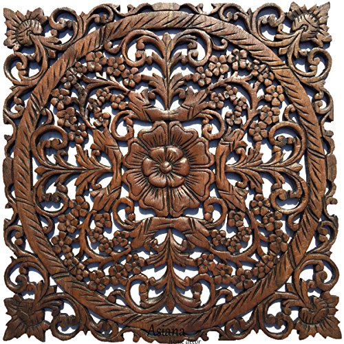 "Large Wood Wall Art- Oriental Carved Wood Wall Decor. Floral Wall Decor. Asian Home Decoration. Rustic Home Decor. Size 24"" (Dark Brown)"