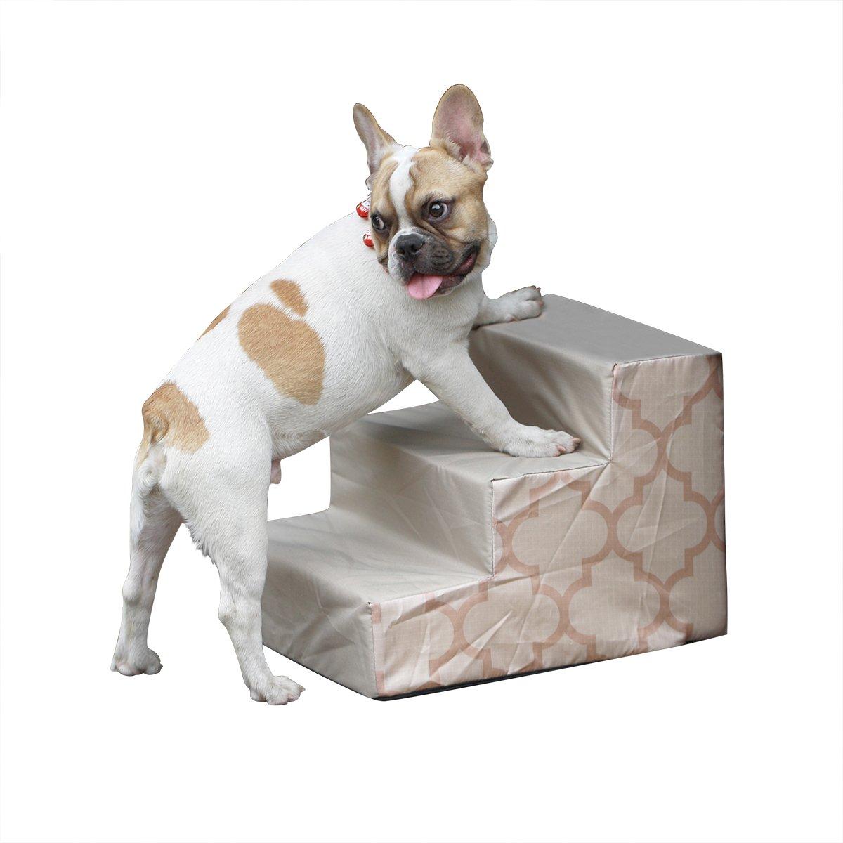 Escaleras de espuma portátil para mascotas, 3 peldaños para perro, gato, suave franela cubierta, base acolchada, antideslizante, color marrón: Amazon.es: ...
