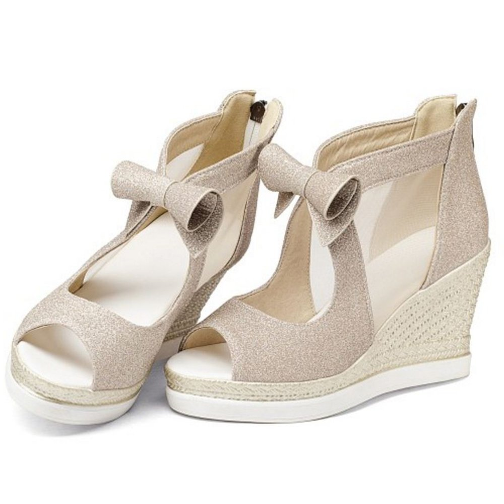 Zanpa Women Fashion Wedges Heels Pumps Sandals length B079Z96KH4 7 US (sole length Sandals 24.5 CM)|Gold f5503e