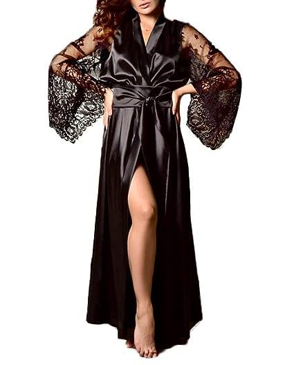 2a882fcffd Women s Lace Sleeve Kimono Sleepwear Loungewear Satin Robe Nightwear ...