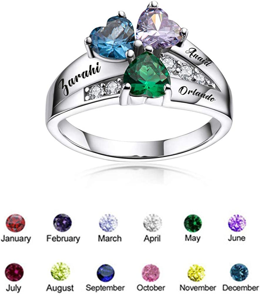 Alonzo Personalized S925 Christmas Mothers Rings Family Ring with 3 Simulated Birthstones for Grandmother Mother Meaningful