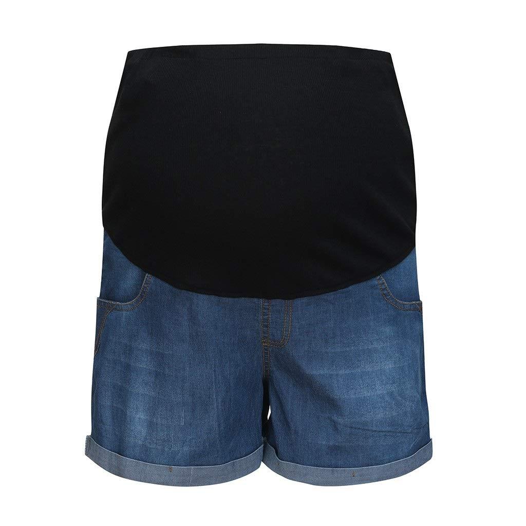 Ropa de maternidad suave del algod/ón Pantalones cortos del embarazo para la mujer embarazada Pantalones vaqueros de cintura alta S/ólido Maternidad Embarazada Verano Pantalones de mezclilla su XXIAZHI