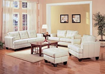 Leather Sofa Set   4 Piece In Cream Leather   Coaster