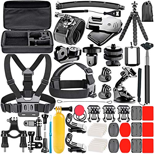 Neewer 53-In-1 Action Camera Accessory Kit Compatible with GoPro Hero 8 Max 7 6 5 4 Black GoPro 2018 Session Fusion Silver White Insta360 DJI AKASO APEMAN Campark SJCAM Action Camera etc