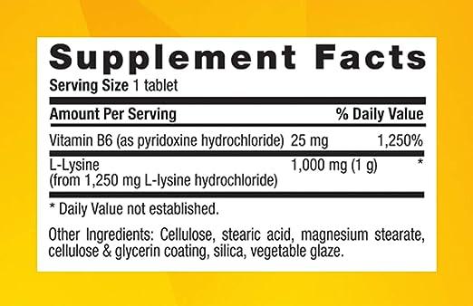 L-Lisina, 1000 mg, comprimidos de 250 - Vida en el campo ...