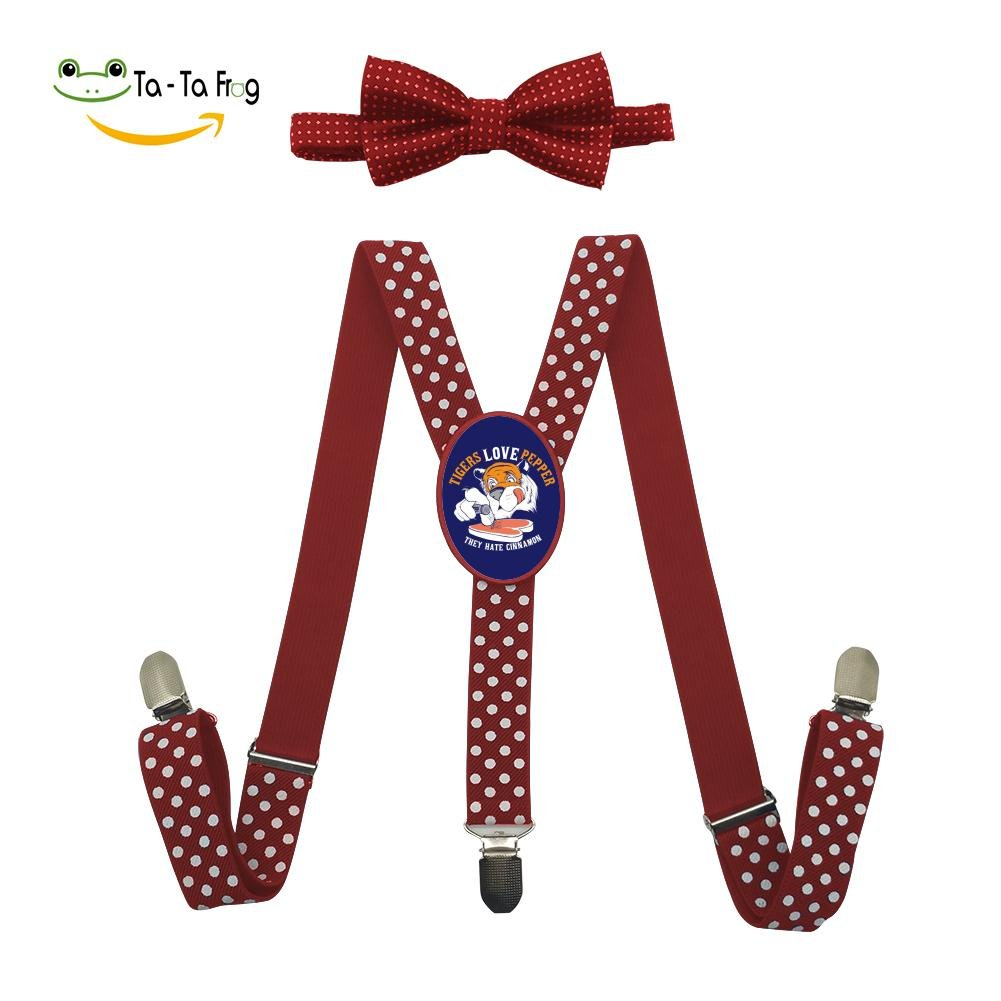 Grrry Children Tigers Love Pepper Adjustable Y-Back Suspender+Bow Tie Red