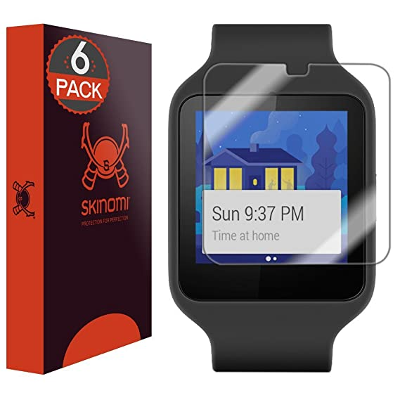 Sony Smartwatch 3 Screen Protector, Skinomi TechSkin (6-Pack) Full Coverage Screen Protector for Sony Smartwatch 3 Clear HD Anti-Bubble Film