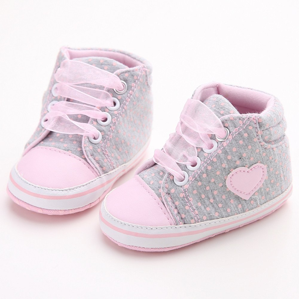 Huangou Baby Girl Canvas Shoe Heart Shape Shoes Sneaker Anti-Slip Soft Sole Toddler