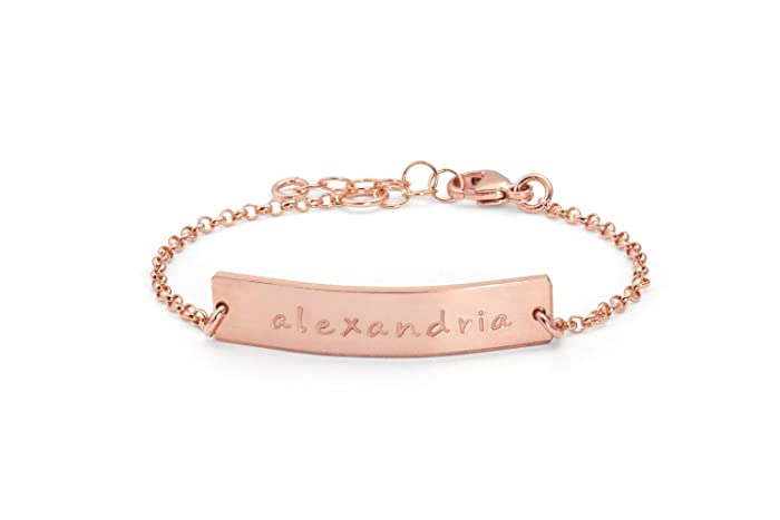 Amazoncom Baby Bracelet Baby name bracelet rose gold Baby bar