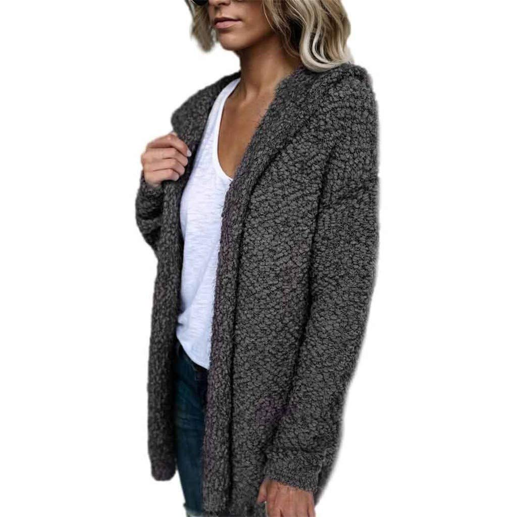 ★ Futurelove ★ ⭐ Women Casual Solid Faux Fur Long Sleeve Hoodie Open Front Cardigan Parka Fuzzy Warm Coat Jacket Gray by ★ Futurelove ★