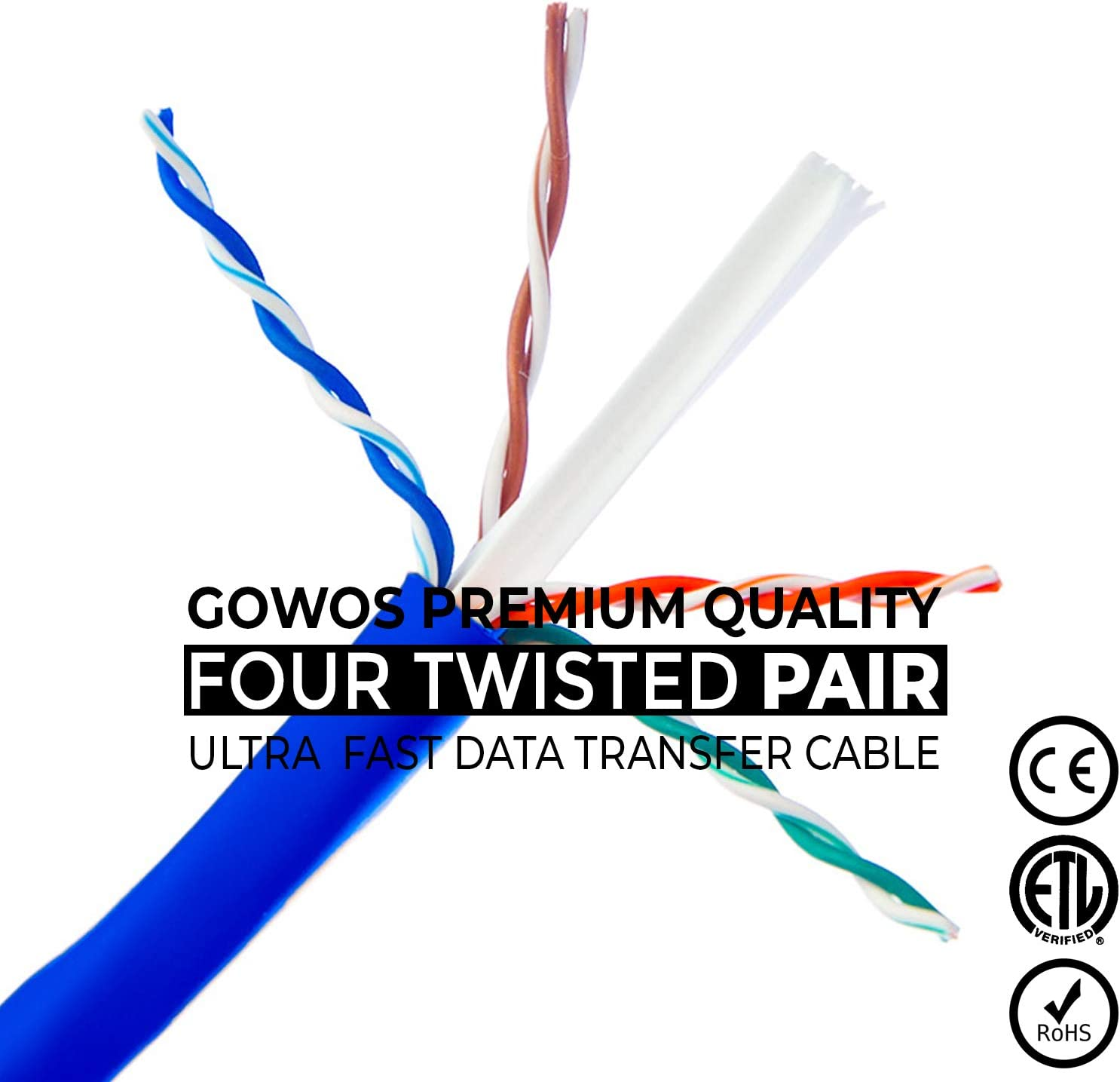 Available in 28 Lengths and 10 Colors 5 Feet - Purple UTP Computer Network Cable with Bootless Connector Cat5e Ethernet Cable GOWOS 100-Pack RJ45 10Gbps High Speed LAN Internet Patch Cord