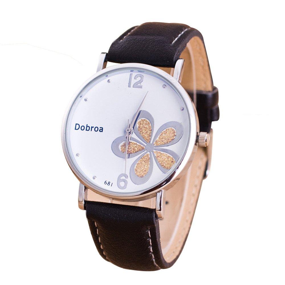 Dorapocket Ladies Watch Clover Fine Quartz Watch Fashion White Gold Flower Watch,Black