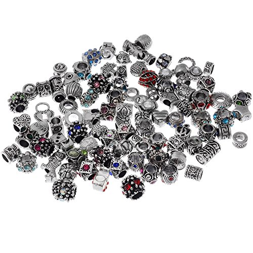- RUBYCA 30pcs Assorted Lot Crystal Tibetan Charm Beads Silver Color Metal fit European Charm Bracelet