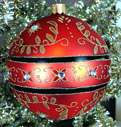- Waterford Holiday Heirlooms Christmas Majestic Scroll Ball #155136 Ornament, Red with Gold Scroll & Crysals