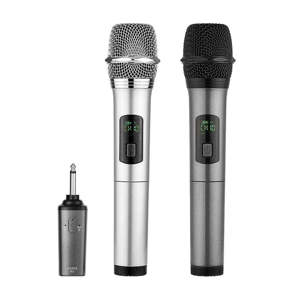 ARCHEER Dual Bluetooth Wireless Microphone, UHF Handheld Dynamic Microphone and Bluetooth Receiver with 1/4'' (6.35mm) Output, Selectable UHF Channels Karaoke Microphone for Singing and Other Purpose.
