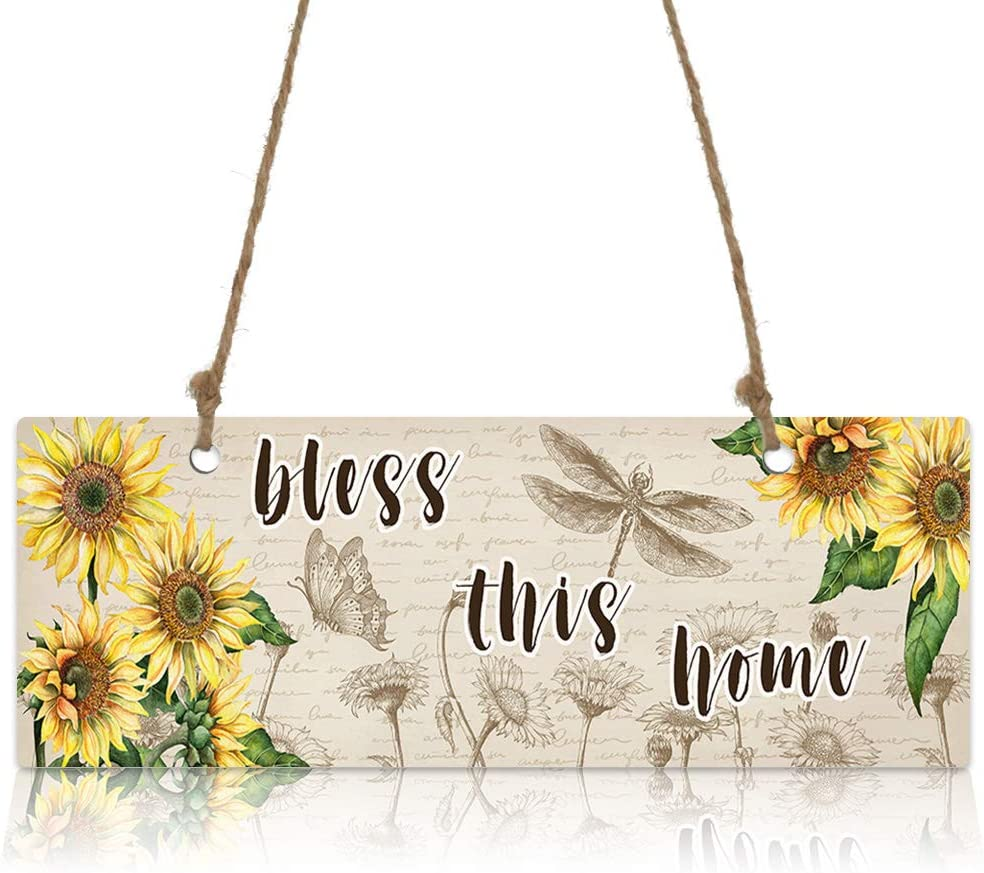 Wooden Hanging Wall Sign Welcome Door Sign- Sunflower Bless This Home Dragonfly Butterfly Kraft Paper Wall Art Sign for Porch Farmhouse Garden Apartment Office Home Decor (3.9