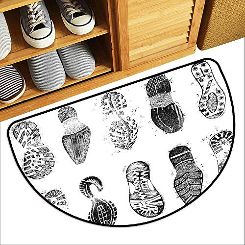 DILITECK Non-Slip Door mat Grunge Set of Various Shoe Tracks Human Foot Damaged Murky Artisan Walking Action Image Personality W36 xL24 Grey and White (Safety Crown Track)